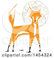 Clipart Graphic Of A Woodcut Alert Fox And Sun Royalty Free Vector Illustration