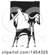Clipart Graphic Of A Black And White Woodcut Alert Fox Against Mountains Royalty Free Vector Illustration