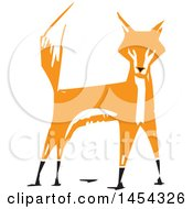 Clipart Graphic Of A Woodcut Alert Fox With His Tail Up Royalty Free Vector Illustration