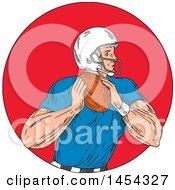 Sketched Drawing Of An American Football Player Quarterback Ready To Throw A Ball In A Red Circle