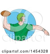 Sketched Drawing Of An American Football Player Quarterback In A Green Uniform Throwing A Ball In A Blue Circle