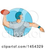 Poster, Art Print Of Sketched Drawing Of An American Football Player Quarterback Throwing A Ball In A Blue Circle