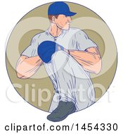 Clipart Graphic Of A Retro Sketched Drawing Male Baseball Player Pitching In A Tan Circle Royalty Free Vector Illustration