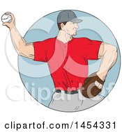 Clipart Graphic Of A Retro Sketched Drawing Male Baseball Player Pitching In A Circle Royalty Free Vector Illustration