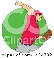 Poster, Art Print Of Retro Sketched Drawing Male Baseball Player Pitching In A Green Circle