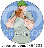 Clipart Graphic Of A Retro Sketched Drawing Male Baseball Player Pitching In A Blue Circle Royalty Free Vector Illustration