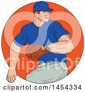 Clipart Graphic Of A Retro Sketched Drawing Male Baseball Player Pitching In An Orange Circle Royalty Free Vector Illustration