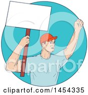 Clipart Graphic Of A Sketched Drawing Of A Male Protester Union Worker Activist Holding Up A Blank Sign In A Blue Circle Royalty Free Vector Illustration