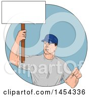 Clipart Graphic Of A Sketched Drawing Of A Male Protester Union Worker Holding Up A Blank Sign In A Blue Circle Royalty Free Vector Illustration