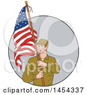 Poster, Art Print Of Sketched Drawing Of A Male American Soldier Holding A Usa Flag In A Gray Circle