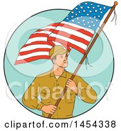 Poster, Art Print Of Sketched Drawing Of A Male American Soldier Holding A Usa Flag In A Turquoise Circle