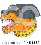 Clipart Graphic Of A Sketched Drawing Of An Aggressive Rottweiler Dog Wearing A Spiked Collar Royalty Free Vector Illustration by patrimonio
