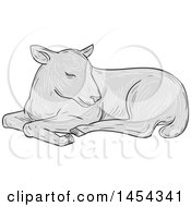 Clipart Graphic Of A Sketched Drawing Grayscale Resting Lamb Royalty Free Vector Illustration by patrimonio