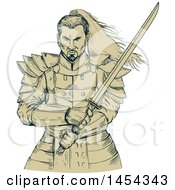 Clipart Graphic Of A Sketched Drawing Of A Tough Samurai Warrior Holding A Katana Sword Royalty Free Vector Illustration