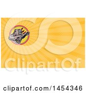Clipart Of A Retro California Grizzly Bear Attacking In A Black White Yellow And Red Circle And Orange Rays Background Or Business Card Design Royalty Free Illustration