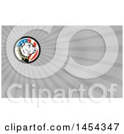 Cartoon White Bulldog Wearing A Spiked Collar In An American Themed Circle And Gray Rays Background Or Business Card Design