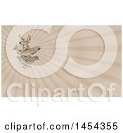 Retro Sketch Of A Deer Buck Trout Fish And Quail And Brown Rays Background Or Business Card Design