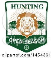 Clipart Graphic Of A Roaring Male Lion Hunting Open Season Shield Royalty Free Vector Illustration