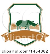 Clipart Graphic Of A Rhino Hunting Shield Royalty Free Vector Illustration