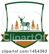 Clipart Graphic Of A Deer Hunting Shield Royalty Free Vector Illustration