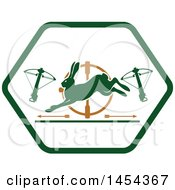 Clipart Graphic Of A Crossbow And Rabbit Hunting Shield Royalty Free Vector Illustration