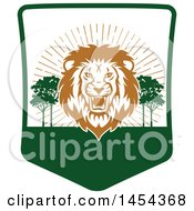 Clipart Graphic Of A Roaring Male Lion Hunting Shield Royalty Free Vector Illustration