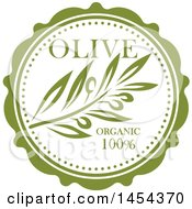 Green Olive Branch Label Design With Text