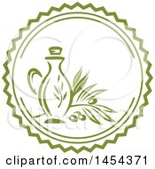 Green Olive Branch And Oil Bottle Label Design