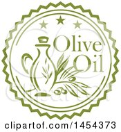 Green Olive Branch And Oil Bottle Label Design With Text