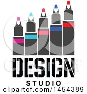 Clipart Graphic Of A Row Of Colored Markers Over Design Studio Text Royalty Free Vector Illustration
