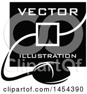 Poster, Art Print Of Black And White Computer Screen And Mouse With Vector Illustration Text