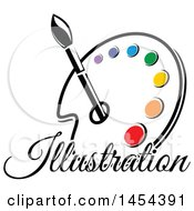 Poster, Art Print Of Paint Palette With Illustration Text An Art Paintbrush And Colors