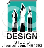 Clipart Graphic Of A Turquoise Paper With Black And White Artist Pen Nib Paintbrush And Pencil Over Design Studio Text Royalty Free Vector Illustration by Vector Tradition SM