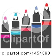 Clipart Graphic Of A Row Of Colored Markers Royalty Free Vector Illustration by Vector Tradition SM