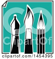 Clipart Graphic Of A Turquoise Paper With Black And White Artist Pen Nib Paintbrush And Pencil Royalty Free Vector Illustration