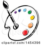 Poster, Art Print Of Paint Palette With An Art Paintbrush And Colors