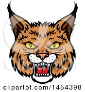 Clipart Graphic Of A Tough Bobcat Lynx Mascot Face Royalty Free Vector Illustration