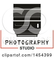 Clipart Graphic Of A Camera Lens With Photography Studio Text Royalty Free Vector Illustration