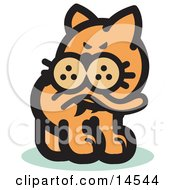 Cat Biting His Tail To Ease A Flea Itch Clipart Illustration