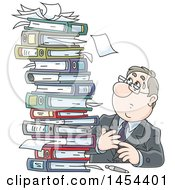 Clipart Graphic Of A Cartoon Stressed White Business Man At A Desk Looking Up At A Stack Of Binders And Books Royalty Free Vector Illustration