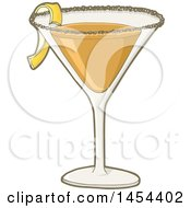 Clipart Graphic of a Sidecar Cocktail Drink - Royalty Free Vector Illustration by Any Vector #COLLC1454402-0165
