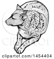 Clipart Graphic of a Grayscale Resting Dog - Royalty Free Vector Illustration by Any Vector #COLLC1454404-0165