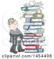 Clipart Graphic Of A Cartoon White Business Man By A Giant Stack Of Books Binders And Paperwork Royalty Free Vector Illustration