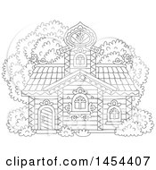 Clipart Graphic Of A Cartoon Black And White Lineart Cottage Royalty Free Vector Illustration by Alex Bannykh