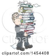 Cartoon White Business Man Carrying A Stack Of Books Binders And Paperwork