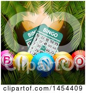 Border Of Palm Tree Branches With 3d Bingo Balls And Cards Against A Full Moon