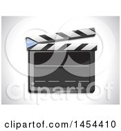 Clipart Graphic Of A 3d Blank Slate Clapperboard On A Shaded Background Royalty Free Vector Illustration