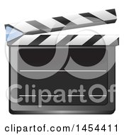 Clipart Graphic Of A 3d Blank Slate Clapper Board Royalty Free Vector Illustration