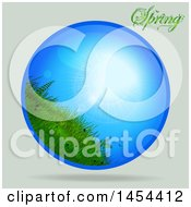 Circle Of A Blue Sunny Sky And Grass Over Shading With Spring Text