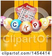 3d Jackpot Bingo Balls With Cards Over Steps